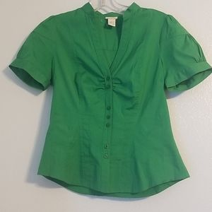 Anthropologie Odille green button down top